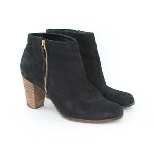 COLE HAAN Women's Ankle Boots Size 10 Black Leather Davenport Zip Side Booties